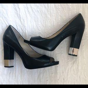 Nine West Peep Toe Heels w/ Silver Accent